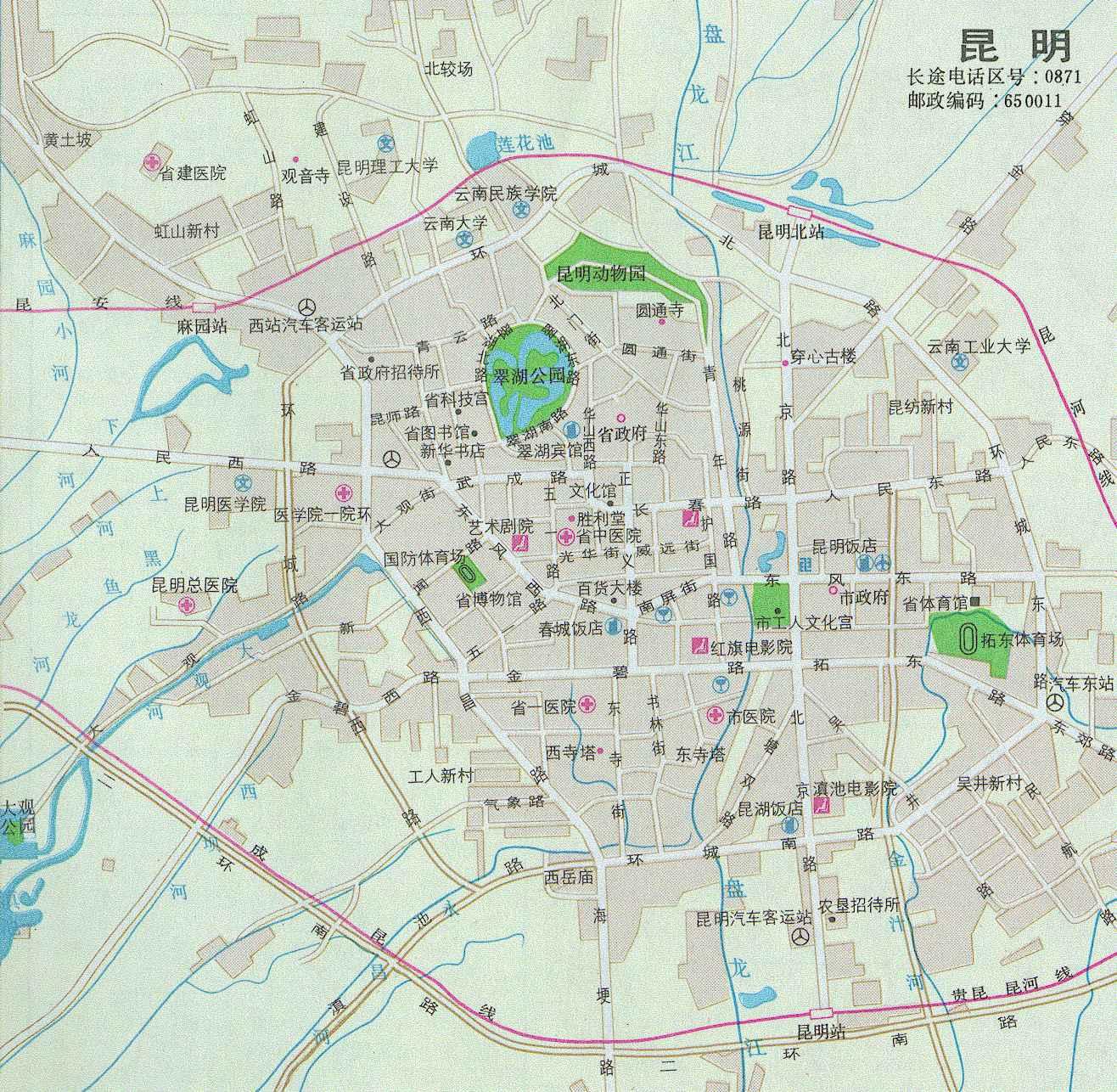从北京到昆明的地图