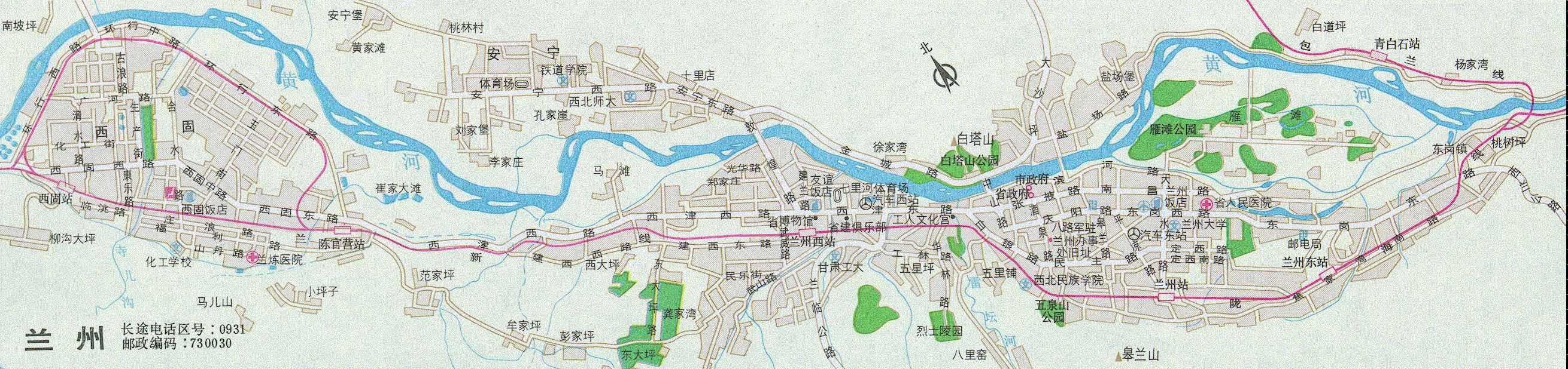 青岛-兰州铁路地图